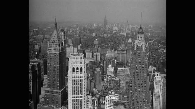 aerial view of skyscrapers in new york city, new york state, usa - empire state building stock videos & royalty-free footage