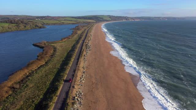 aerial view of slapton sands, devon, england - devon stock videos & royalty-free footage