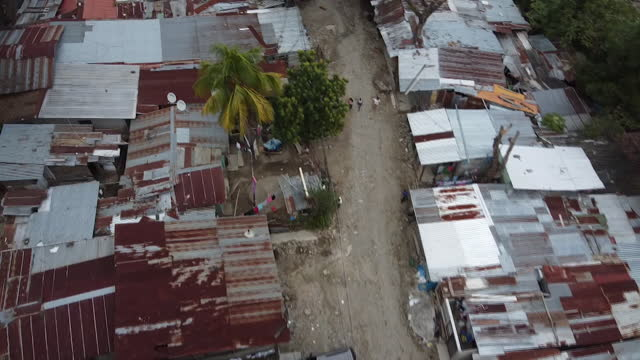 Aerial view of slums and streets