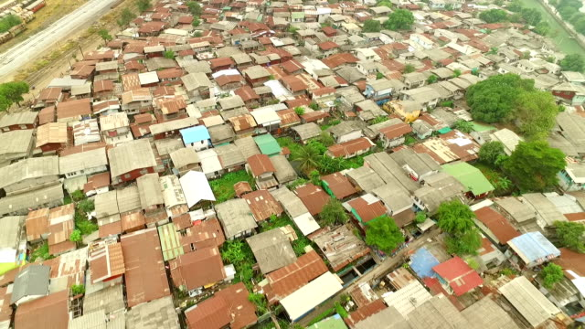 Vista aerea di baraccopoli da Bangkok, Tailandia