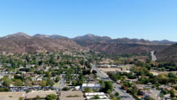 Aerial view of small city Poway in suburb of San Diego County, California, United States.