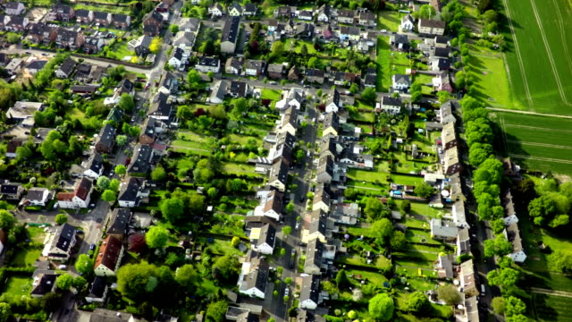 Aerial view of small city.