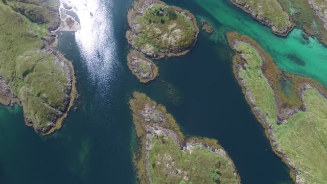 Aerial view of small islands with small fishing village, Norway
