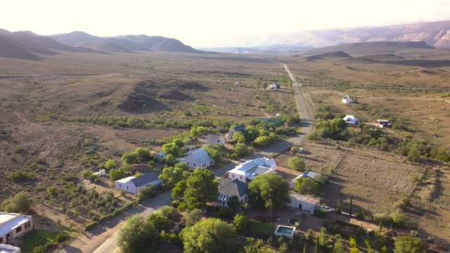 aerial view of small karoo town in south africa - the karoo stock videos & royalty-free footage