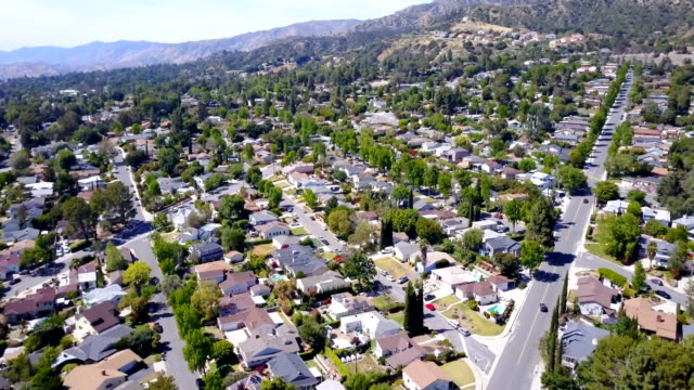 aerial view of small suburban neighborhood - district stock videos & royalty-free footage