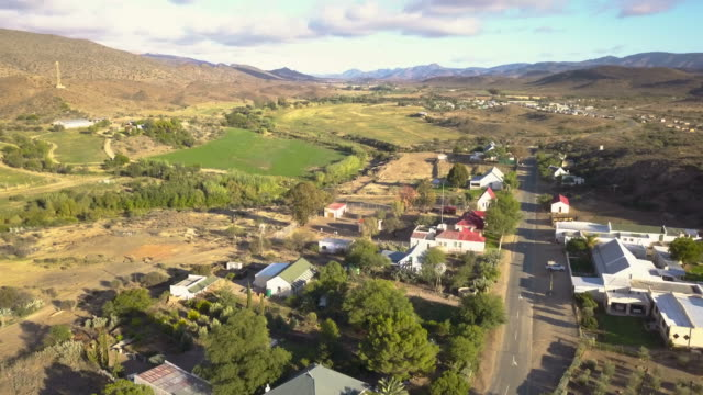 aerial view of small town in farming landscape - the karoo stock videos & royalty-free footage