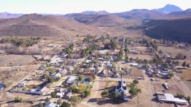 aerial view of small town of nieu bethesda in karoo, south africa - town stock videos & royalty-free footage