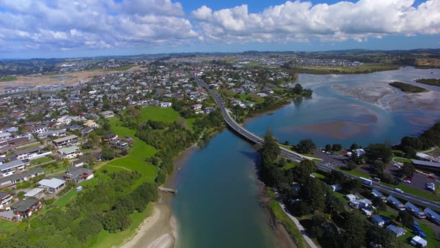Aerial View of Small Town Orewa, North of Auckland, New Zealand.