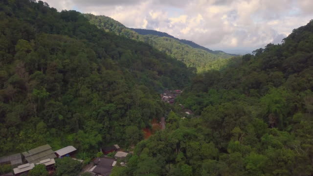Aerial view of: Small village on the big forest Mae Kam Phong village, Mae on, Chiangmai province Thailand.