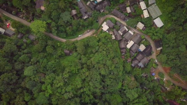 Aerial view of: Small village on the big forest Mae Kam Phong village, Mae on, Chiangmai province Thailand. 4K