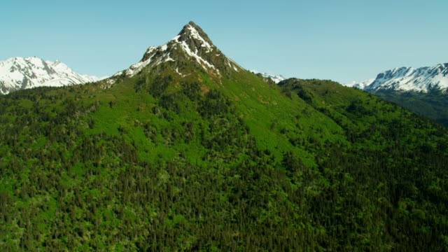 vídeos de stock, filmes e b-roll de aerial view of snow covered mountain peaks alaska - eco tourism