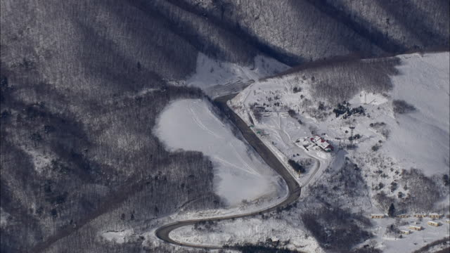 Aerial View of snow covered Odaesan Mountain National Park