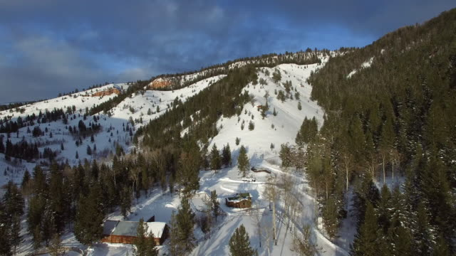 aerial view of snow covered structures amidst evergreen trees, drone moving forward and approaching mountain against sky - jackson, wyoming - wyoming stock videos & royalty-free footage