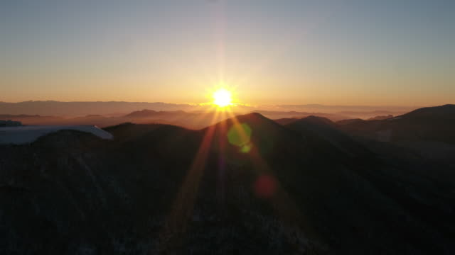 Aerial view of snow in Hambaeksan mountain (Tallest mountain in the eastern part of Gangwon-do province) at sunrise