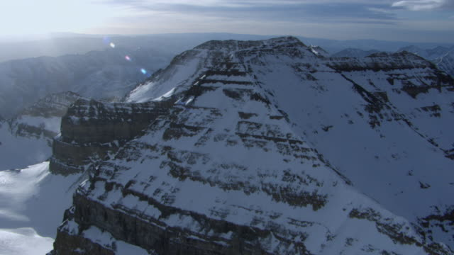 aerial view of snowcapped mount timpanogos and wasatch range, utah, united states of america. - utah stock videos & royalty-free footage