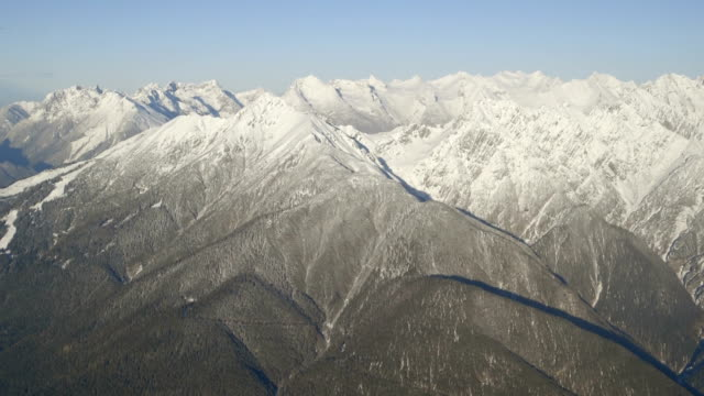 Aerial view of snowcapped mountain during winter