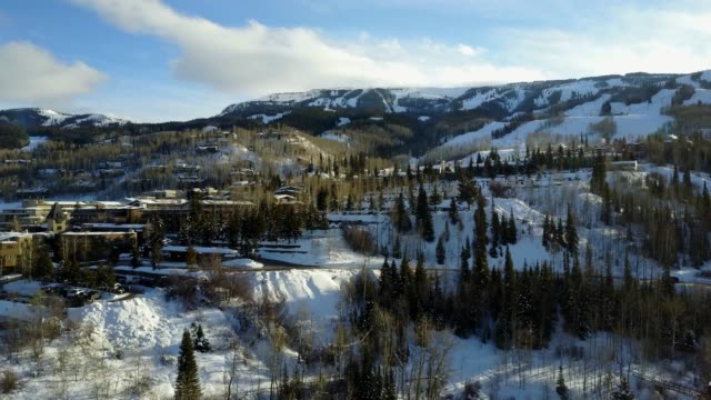 aerial view of snowmass at aspen colorado in the winter - colorado stock videos & royalty-free footage