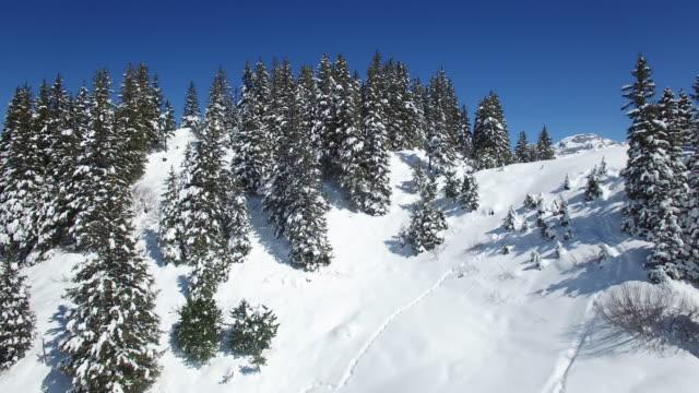 vídeos y material grabado en eventos de stock de aerial view of snowy landscape with ski resort for winter sport - vacaciones en la nieve