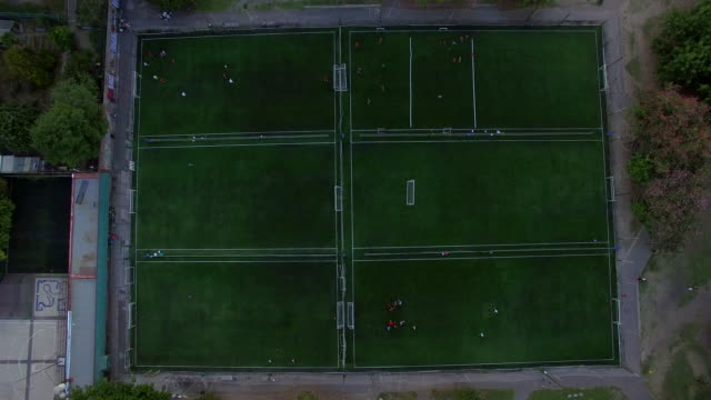 Aerial view of soccer field in residential Buenos Aires Argentina