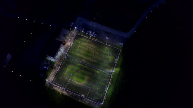 Aerial view of soccer game at night