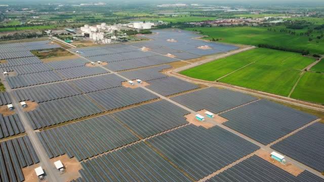 Aerial view of Solar Farm, Renewable Energy