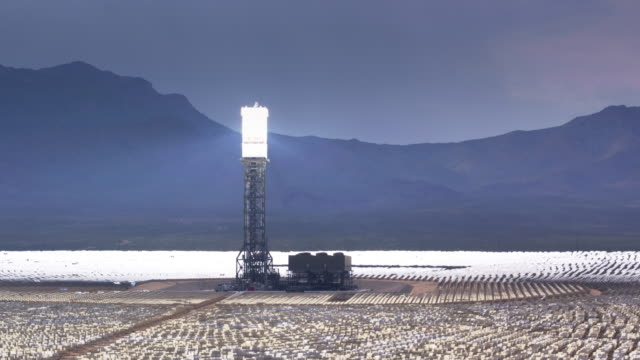 Aerial View of Solar Glare on Mirrors at Ivanpah, California