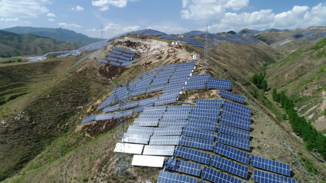aerial view of solar panel in china - renewable energy stock videos & royalty-free footage