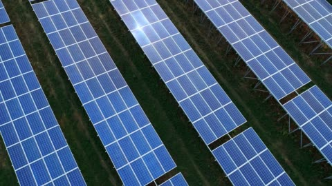 4k aerial view of solar panels farm (solar cell) with sunlight - control panel stock videos & royalty-free footage