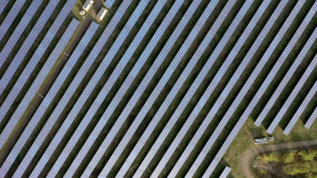 aerial view of solar panels - power equipment stock videos & royalty-free footage