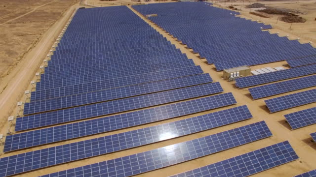 Aerial view of  solar power plant in the desert