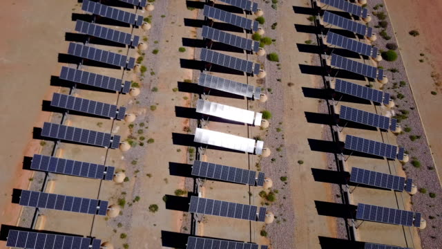 Aerial view of solar power plant producing renewable energy