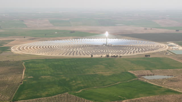 aerial view of solar-thermal power plant - sustainable resources stock videos and b-roll footage