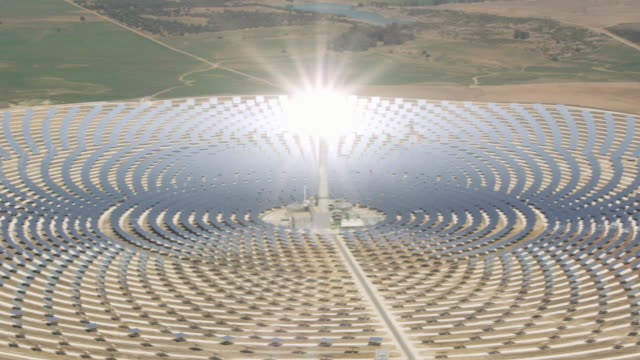 aerial view of solar-thermal power plant - alternative energy stock videos and b-roll footage