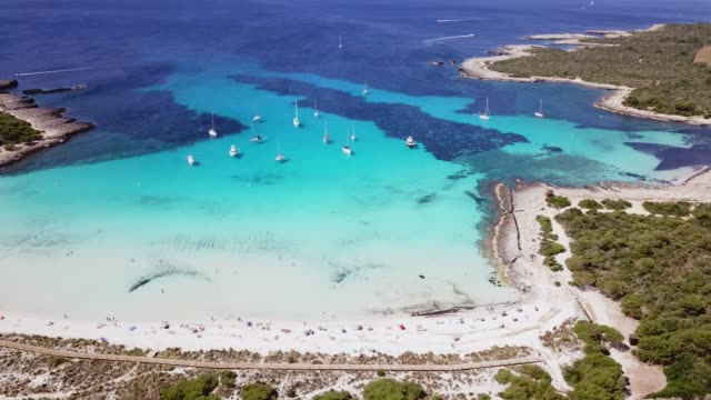 aerial view of son saura beach, menorca, spain - バレアレス点の映像素材/bロール