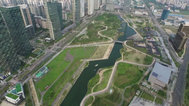 Aerial view of Songdo Central Park and Northeast Asia Trade Tower (remained tallest building in South Korea from 2013 to 2016) in Songdo International Business District