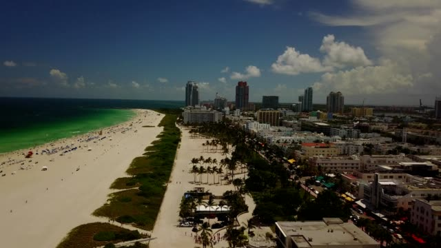 aerial view of south beach miami florida - south beach stock videos & royalty-free footage