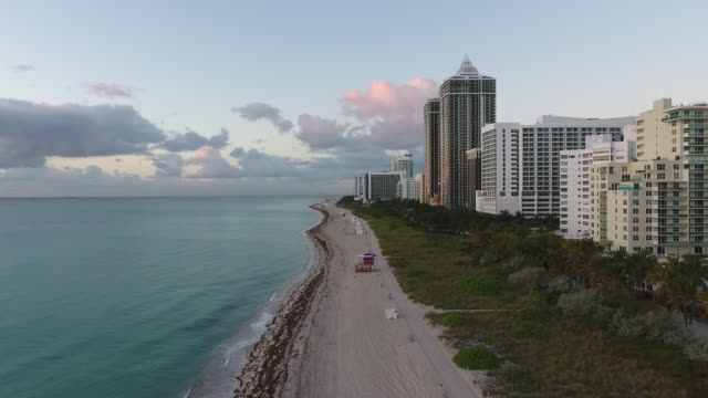 aerial view of south beach on a beautiful day - beach house stock videos & royalty-free footage