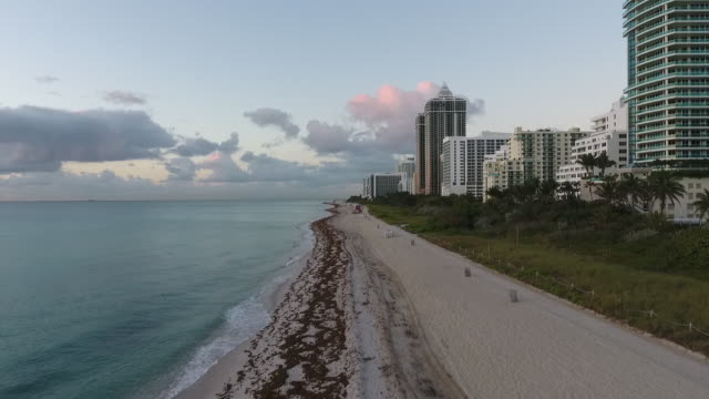 aerial view of south beach on a beautiful day - south beach stock videos & royalty-free footage