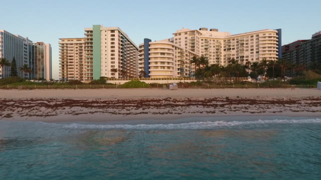 aerial view of south beach on a beautiful day - miami beach stock videos & royalty-free footage