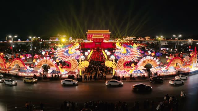 aerial view of south gate of ancient city wall for celebrate chinese spring festival ,xi'an, shaanxi, china - pagoda stock videos & royalty-free footage