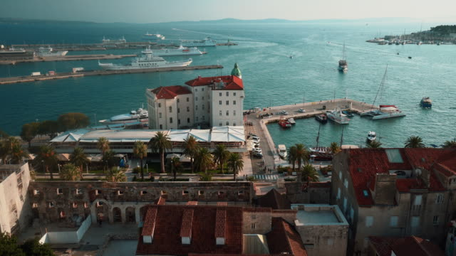 aerial view of split, croatia - mare adriatico video stock e b–roll