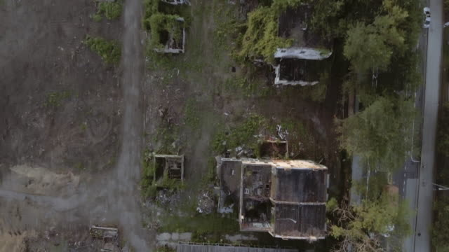 Aerial view of spooky abandoned buildings in Brooklyn New York City