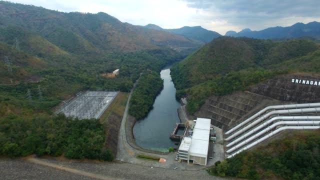 Aerial view of Srinagarind Dam in Kanchanaburi, Thailand