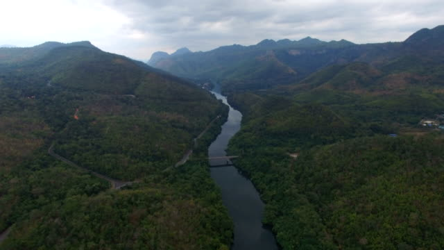 aerial view of srinagarind dam in kanchanaburi, thailand - 4k resolution stock videos & royalty-free footage