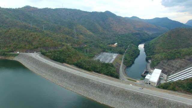 aerial view of srinagarind dam in kanchanaburi, thailand - dam stock videos and b-roll footage