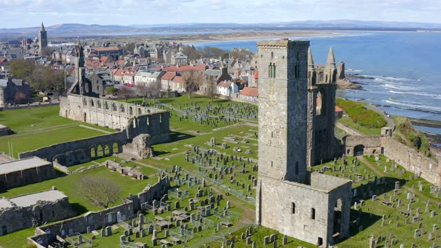 aerial view of st andrews cathedral in fife, uk - cathedral stock videos & royalty-free footage