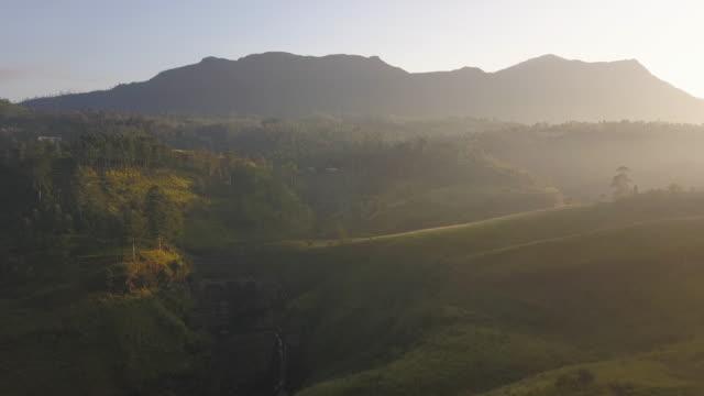aerial view of st claire waterfall in sri lanka, drone footage - スリランカ点の映像素材/bロール