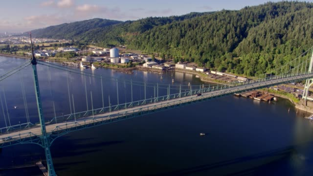 Aerial view of St Johns Bridge and Willamette River in Portland, Oregon