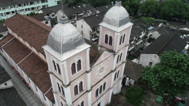 aerial view of st joseph church on june 24 2020 in shaoxing zhejiang province of china - zhejiang province stock videos & royalty-free footage