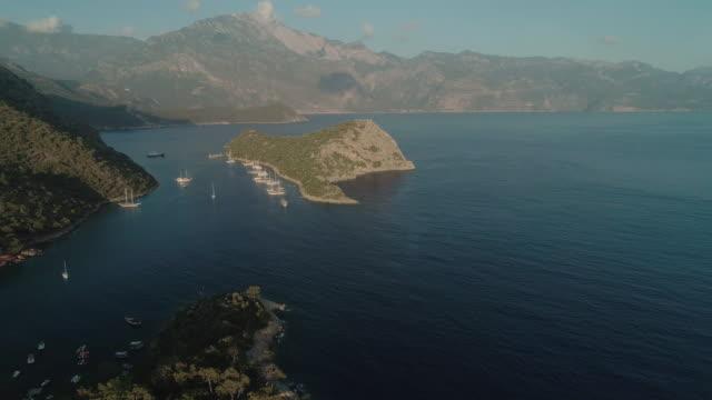 vídeos y material grabado en eventos de stock de aerial view of st. nicholas island and gemiler island. turkey. - cabo verde